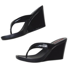 1990s Prada Patent Leather Wedge Sandals