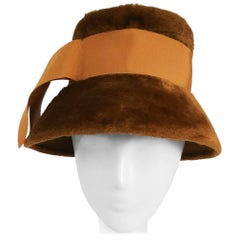1960s Ochre Yellow Mod Cloche Hat w/ Grosgrain Ribbon