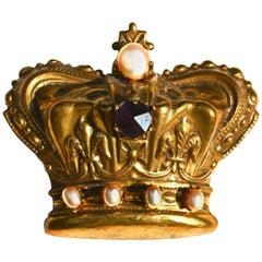 Large 1940s Brass Crown Brooch