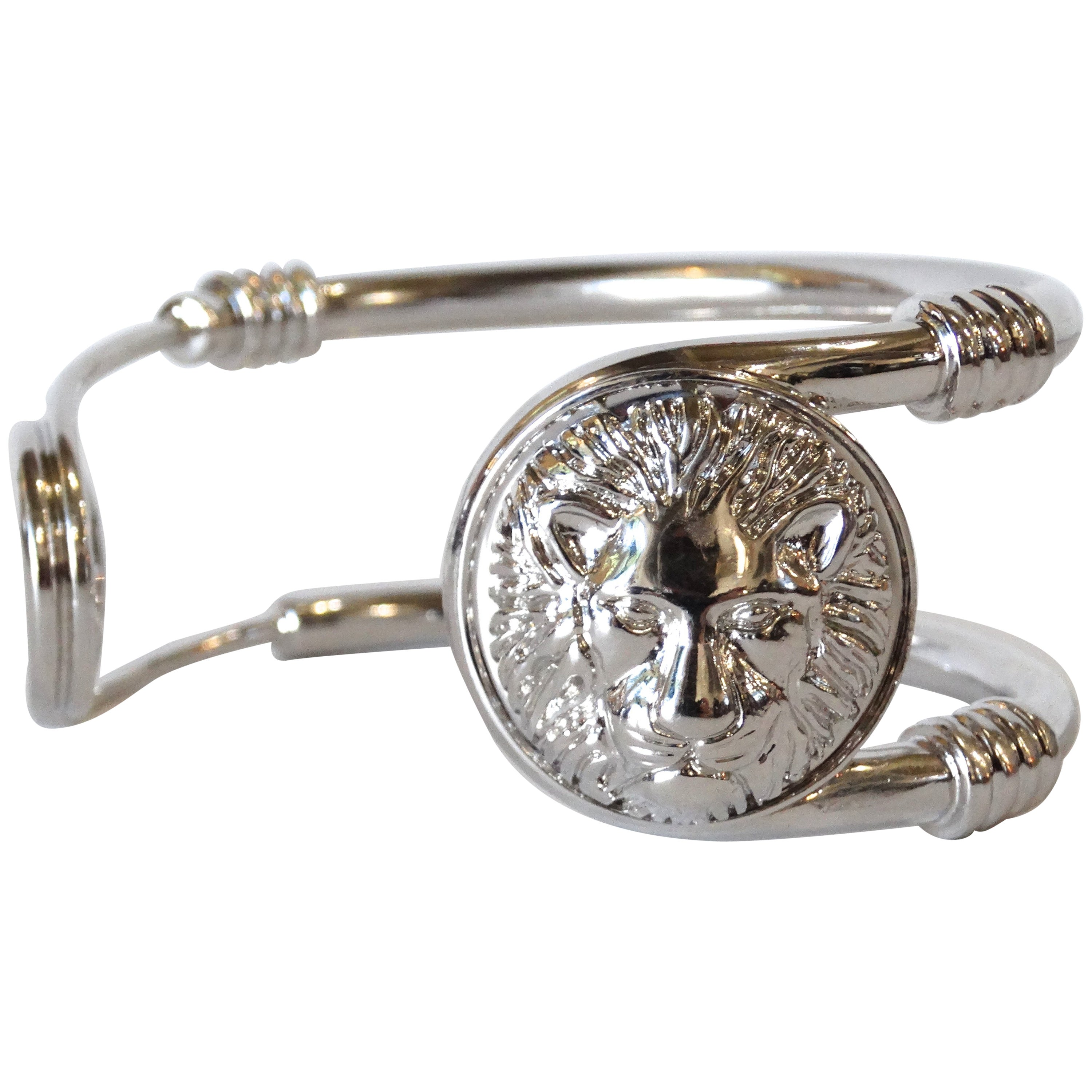 e33b76c39d2d2 Iconic 1990s Versus Versace Lion Saftey Pin Cuff Bracelet For Sale at  1stdibs