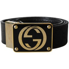 1990s Gucci Enamled Belt Buckle with Black Canvas Belt