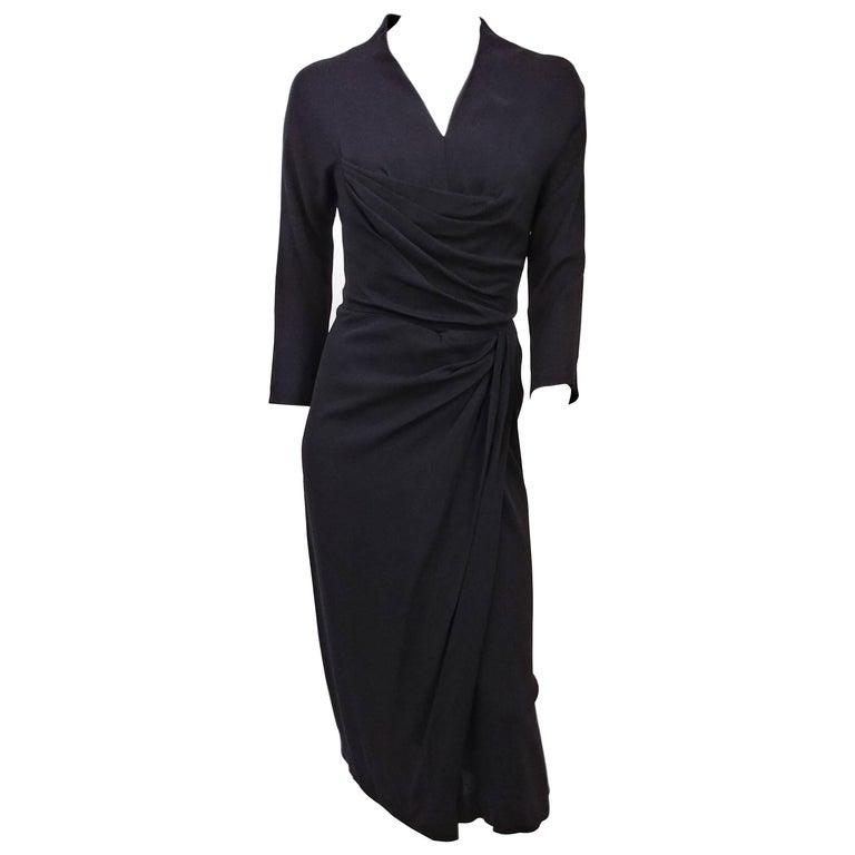 1950s Dorothy O'hara Gathered Black Dress