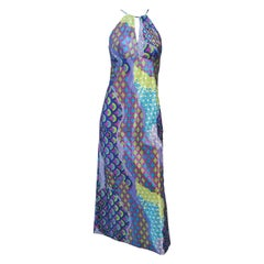 1970s Purple Psychedelic Halter Maxi Dress