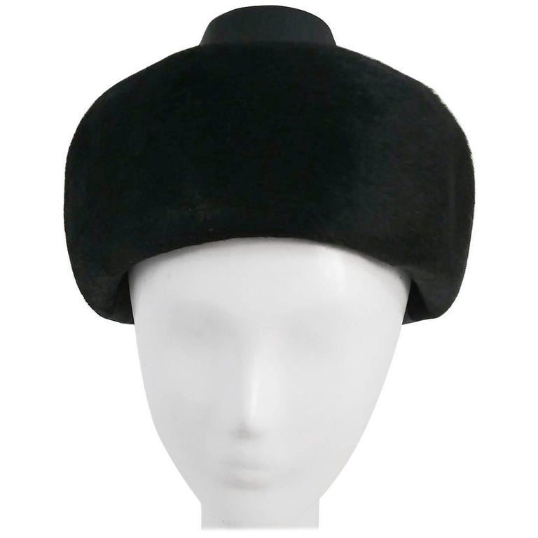 1960s Black Hat w/ Satin Ribbon For Sale