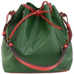 Vintage Louis Vuitton Petit Noe Green Red Vio Epi Leather Shoulder Bag