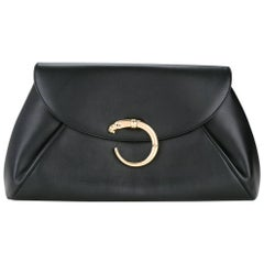 Cartier Black Leather Gold Emblem Evening Large Envelope Flap Clutch Bag