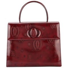 Cartier Burgundy Patent Leather Top Handle Satchel Kelly Style Evening Flap Bag