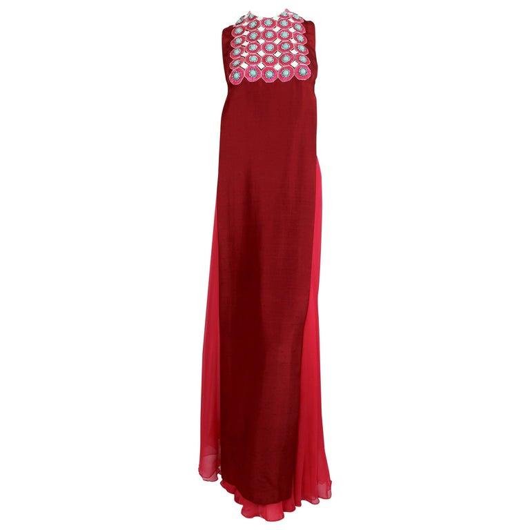 1960's MADAME GRES fuchsia beaded slub silk tabard & silk chiffon skirt ensemble