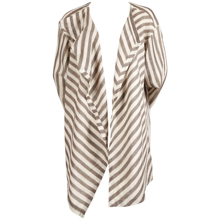 1980's ISSEY MIYAKE lightweight striped cotton jacket For Sale