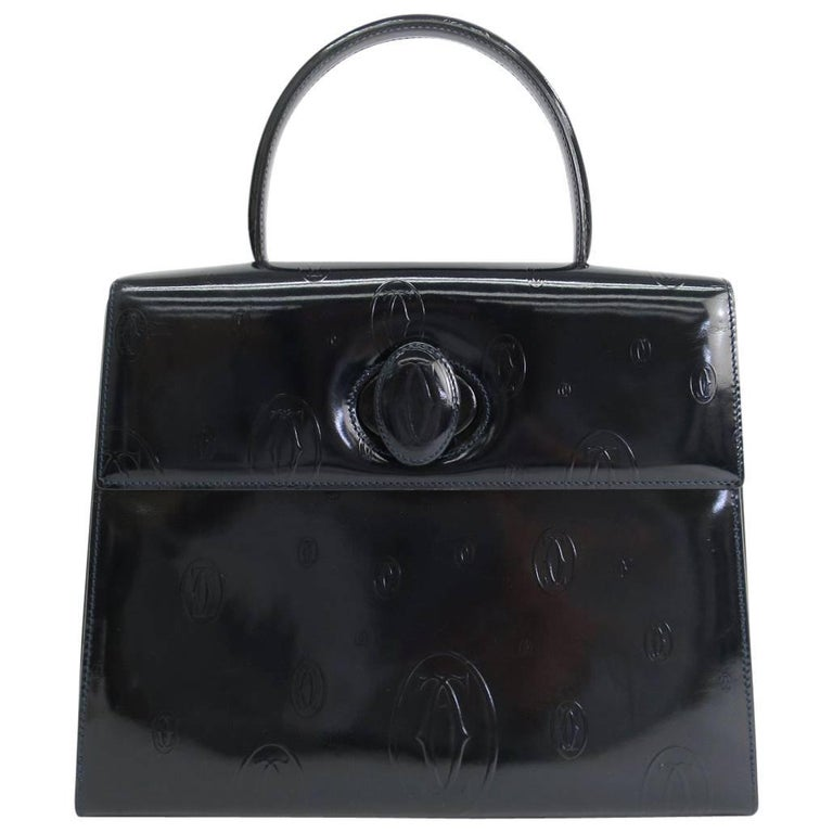 Cartier Navy Patent Leather Top Handle Satchel Kelly Style Evening Flap Bag