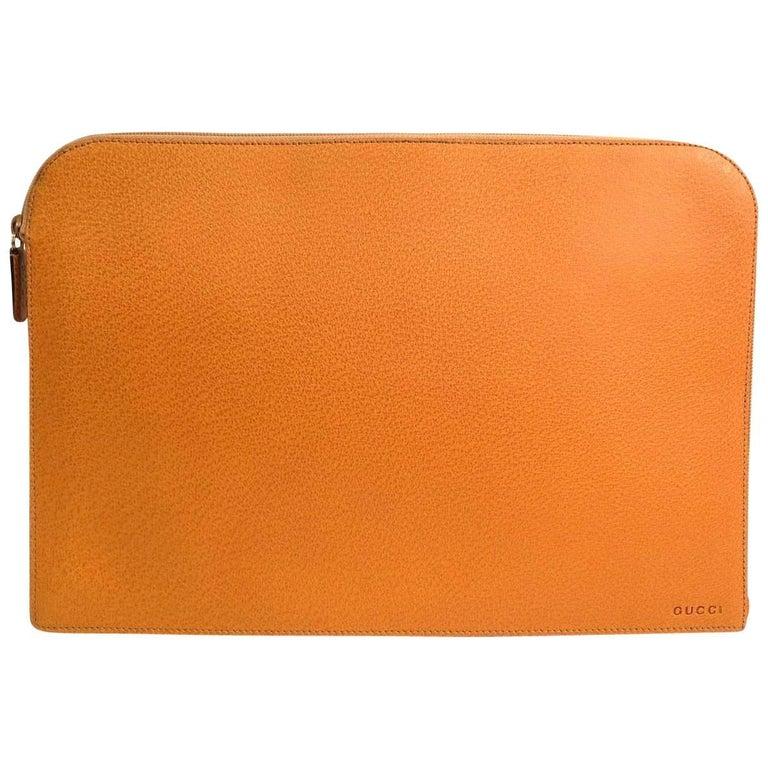 Gucci Leather Men's Women's Zip Around Carryall Laptop Travel Clutch Case Bag