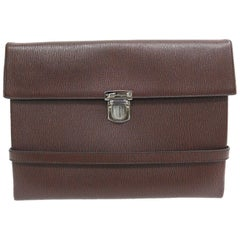 Salvatore Ferragamo Brown Leather Men's Women's Carryall Travel Clutch Bag