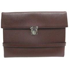 Salvatore Ferragamo Brown Leather Men's Women's Carryall Travel Clutch Bag