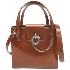 Cartier Cognac Patent Evening Silver Chain Top Handle Satchel Kelly Shoulder Bag