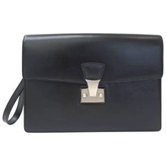 Cartier Black Leather Silver Men's Women's Carryall Travel Business Clutch Bag