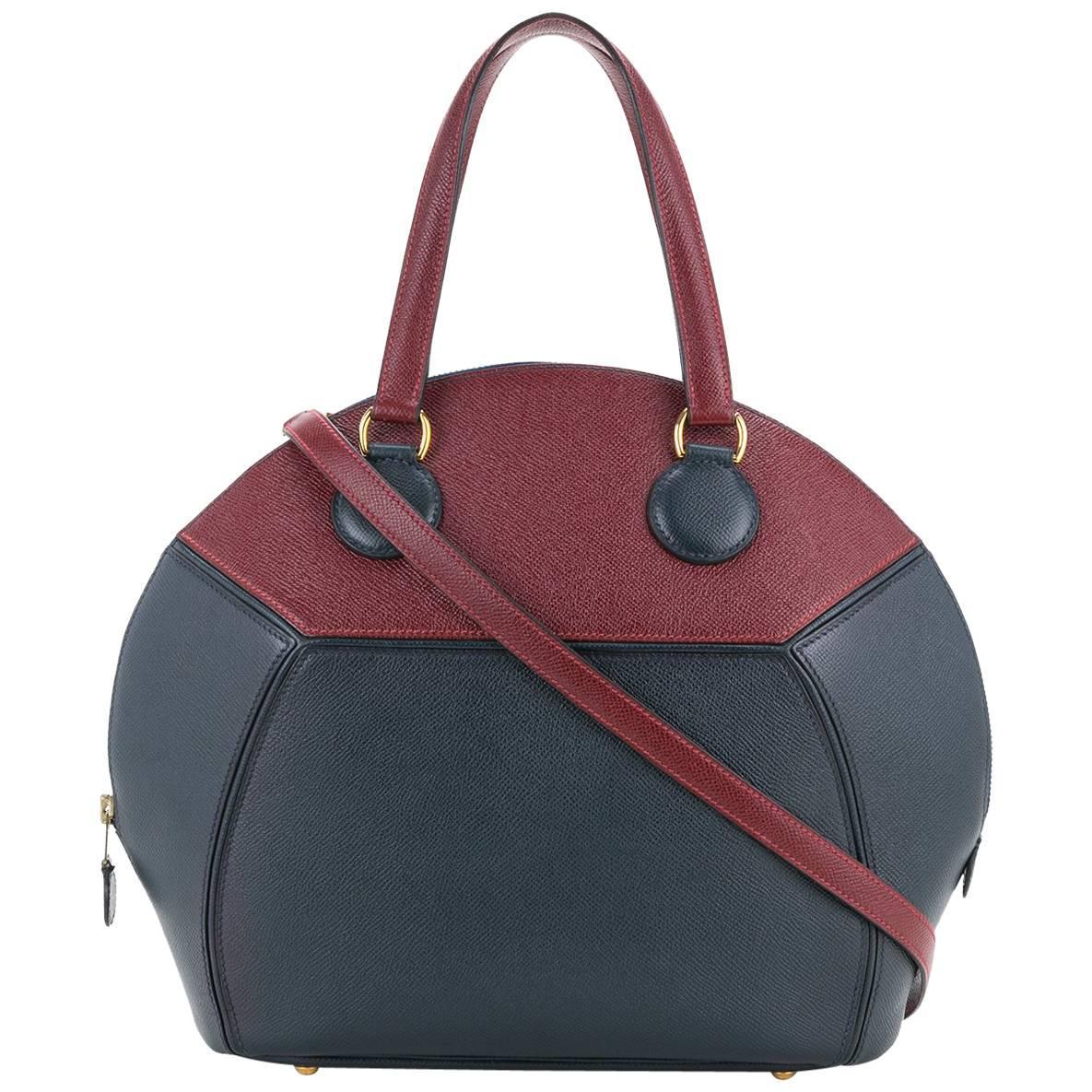 Hermes Leather Top Handle Satchel Bowling Shoulder Bag
