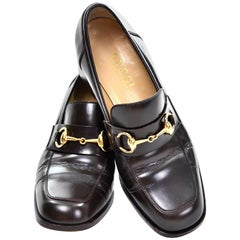 Gucci Vintage Shoes Brown Leather Loafers w/ Horsebit Buckles Size 7.5
