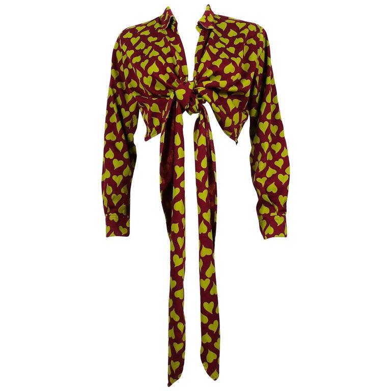 Jean Paul Gaultier Vintage Heart Print Tie-Front Shirt