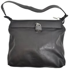 Burberry Black Leather Handbag with Silver Hardware Padlock