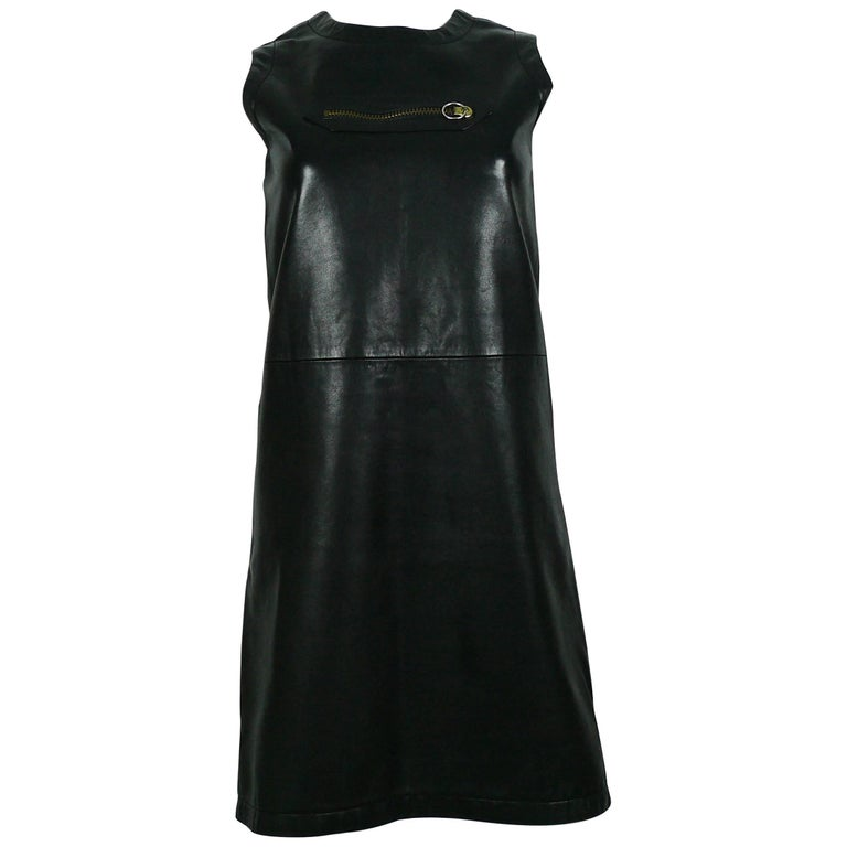 Pierre Cardin Vintage 1970s Little Black Leather Zip Dress
