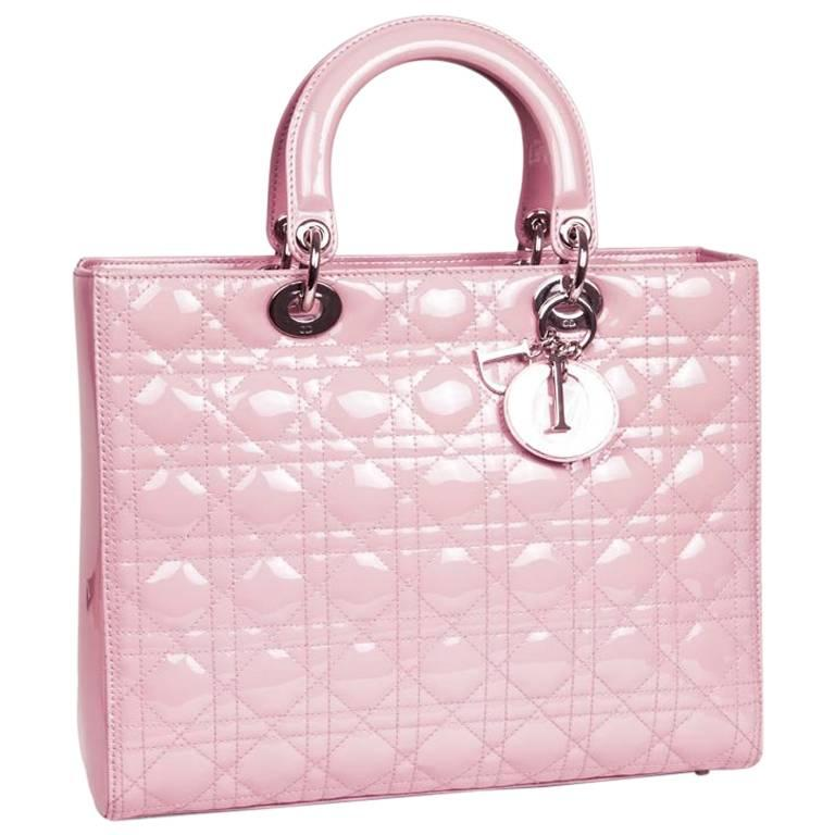 Lady Dior Handbag In Pastel Pink Patent Leather For At 1stdibs