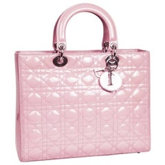 'Lady Dior' Handbag in Pastel Pink Patent Leather