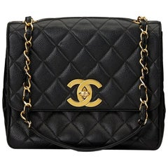 1990s Chanel Black Quilted Caviar Leather Vintage Classic Single Flap Bag
