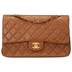 1990s Chanel Brown Quilted Lambskin Vintage Medium Classic Double Flap Bag