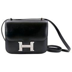 Hermes Constance Box Black Leather Bag