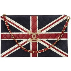 2000s Chanel Navy Suede, Red & White Lambskin Union Jack Pouch