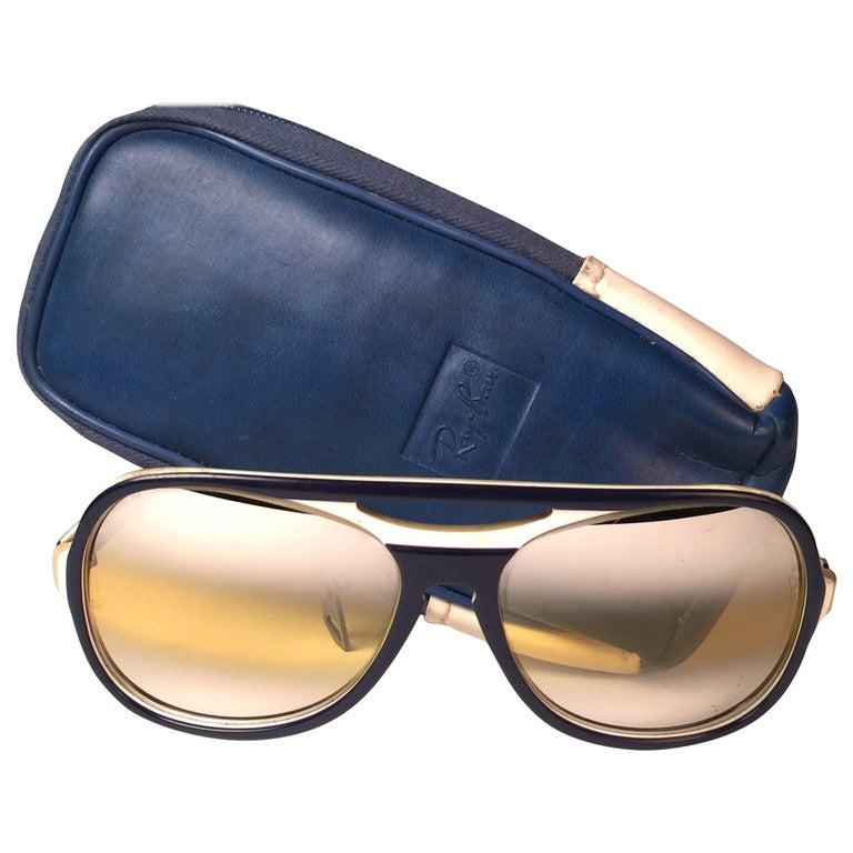 New Vintage Ray Ban B&L Powderhorn Double Mirror Ambermatic Lenses Sunglasses US