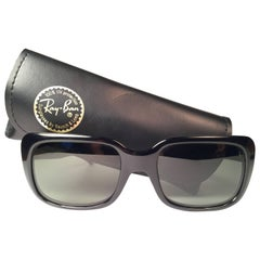 New Vintage Ray Ban Monti Black 1970's G15 Lenses USA Sunglasses