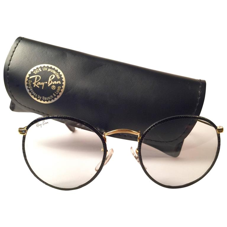 New Vintage Ray Ban Leathers Black Round B Amp L 1980 S