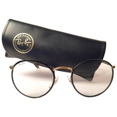 New Vintage Ray Ban Leathers Black Round  B&L 1980's Sunglasses