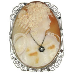 Stunning Antique Shell Cameo White Gold Brooch Pendant w/ Diamond