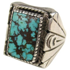 Native American Kingman Sterling Silver Turquoise Hand Crafted Unisex Ring