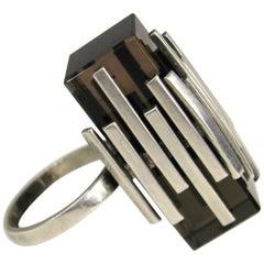 Vintage 1960s Modernist Quartz sterling silver Ring