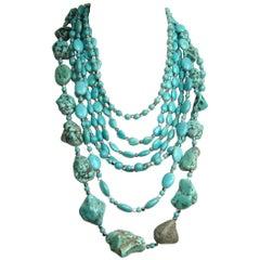 Massive Southwestern Turquoise Stone 7 Strand Bib Necklace