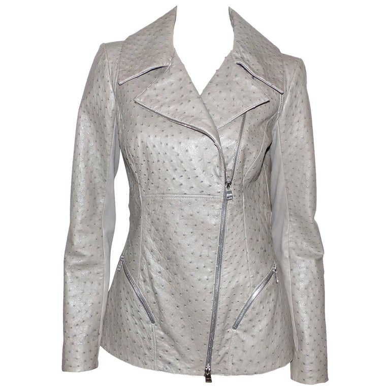 FAN-TAS-TIC Jitrois Jean Claude Leather Jacket grey Autruche / BRAND NEW  For Sale