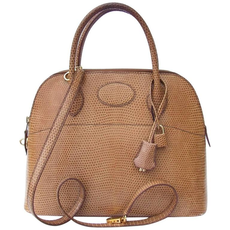4d41e411743b Hermes Bolide Bag 2 ways Beige Lizard Golden Hdw 31 cm With Strap For Sale