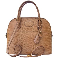 Hermes Bolide Bag 2 ways Beige Lizard Golden Hdw 31 cm With Strap