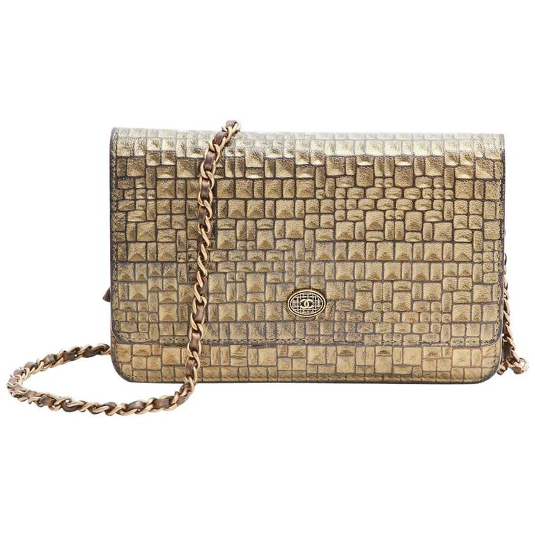 CHANEL Mini Flap Bag in Golden Aged Embossed Lamb Leather For Sale