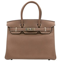 Hermes Etoupe Togo Leather 30cm Birkin