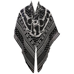 Hermes Black and White Spur Cashmere Silk Shawl Scarf GM