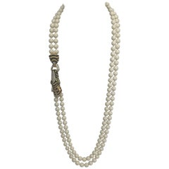 Ciner Crystal Double Strand Zebra Necklace Goldtone 1980s
