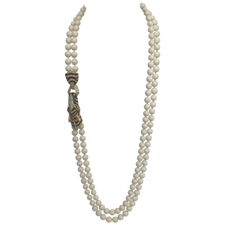 Ciner Crystal Double Strand Zebra Necklace Goldtone 1980s 1