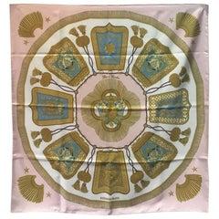 Hermes Vintage Poste et Cavalerie Silk Scarf in Pink
