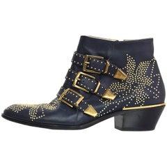 Chloe Navy Studded Susanna Ankle Boots Sz 38.5 with Box