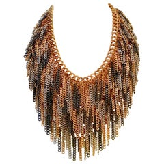 Modern Heavy Metal Chain Link 3-Tone Fringe Necklace