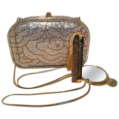 Judith Leiber Swarovski Crystal Gold Floral Print Minaudiere Evening Bag Clutch